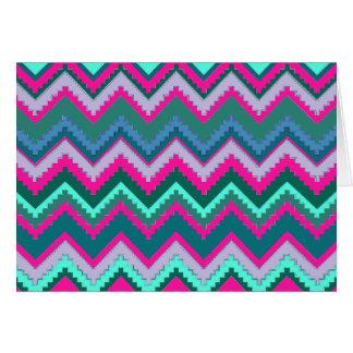 Pretty Aqua Teal Blue Pink Tribal Chevron Zig Zags Card