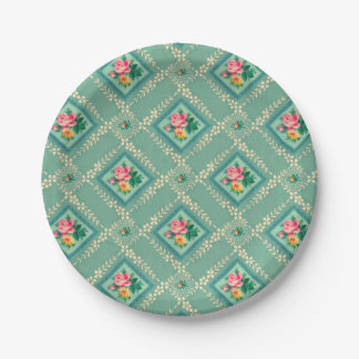 Pretty aqua vintage wallpaper paper plates