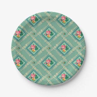 Pretty aqua vintage wallpaper paper plates 7 inch paper plate