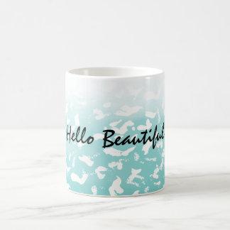 Pretty Aqua White Ombre Animal Print Coffee Mug