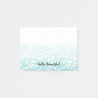 Pretty Aqua White Ombre Animal Print Post-it Notes