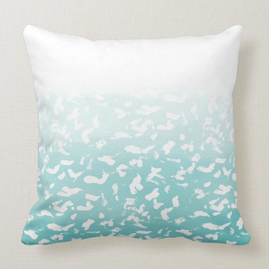Pretty Aqua White Ombre Animal Print Throw Pillow