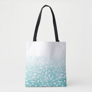 Pretty Aqua White Ombre Animal Print Tote Bag