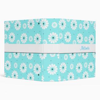 Pretty Aquamarine and White Daisies Binder