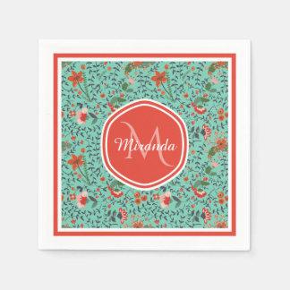 Pretty Aquamarine Orange and Red Floral Monogram Disposable Napkins