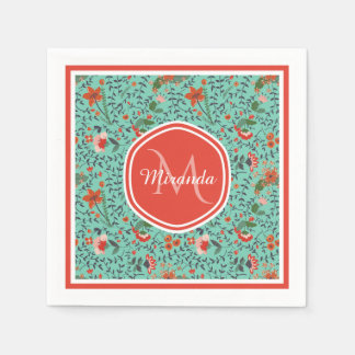 Pretty Aquamarine Orange and Red Floral Monogram Paper Napkin