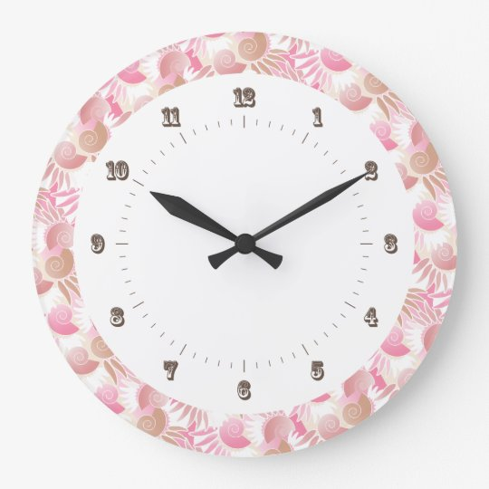 Pretty Art Deco Pastels Pink and Brown Pattern Large Clock