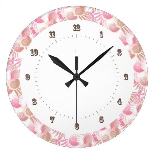 Pretty Art Deco Pastels Pink and Brown Pattern Wall Clocks