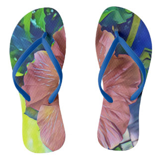 Pretty Artistic Blooming Floral Hibiscus Plant Flip Flops