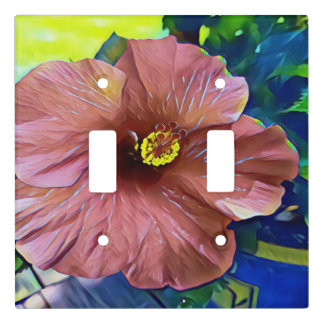 Pretty Artistic Blooming Floral Hibiscus Plant Light Switch Cover