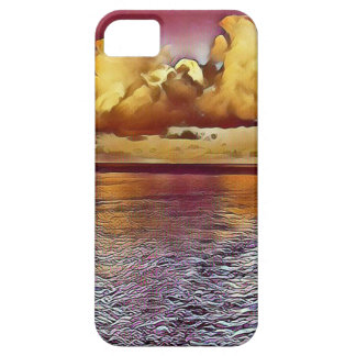 Pretty Artistic Magenta Rose Golden Seascape Case For The iPhone 5