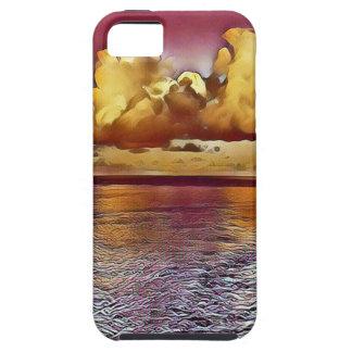 Pretty Artistic Magenta Rose Golden Seascape iPhone 5 Covers