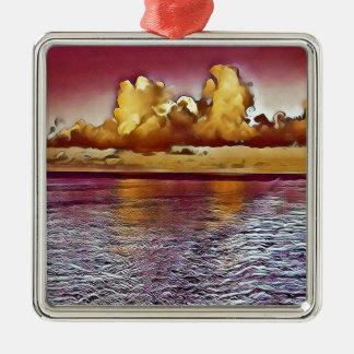 Pretty Artistic Magenta Rose Golden Seascape Metal Ornament
