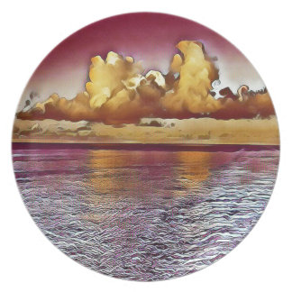 Pretty Artistic Magenta Rose Golden Seascape Plate