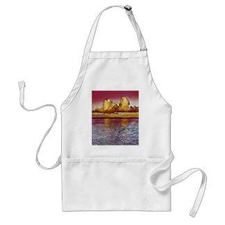 Pretty Artistic Magenta Rose Golden Seascape Standard Apron