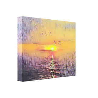 Pretty Artistic Painted Seascape Sunrise Canvas Print