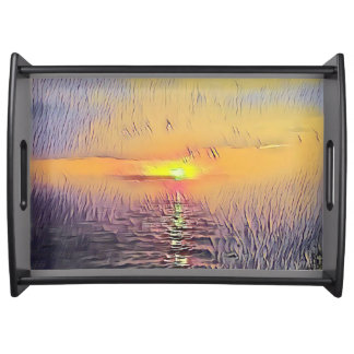 Pretty Artistic Painted Seascape Sunrise Serving Tray