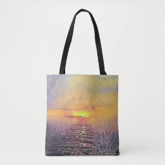Pretty Artistic Painted Seascape Sunrise Tote Bag
