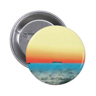 Pretty Artistic Seascape Naval ship Silhouette 2 Inch Round Button