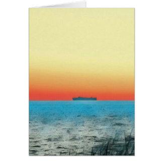 Pretty Artistic Seascape Naval ship Silhouette Card