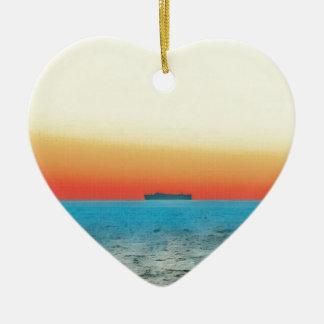 Pretty Artistic Seascape Naval ship Silhouette Ceramic Heart Ornament