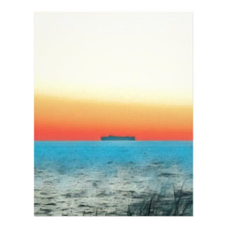 Pretty Artistic Seascape Naval ship Silhouette Letterhead Design