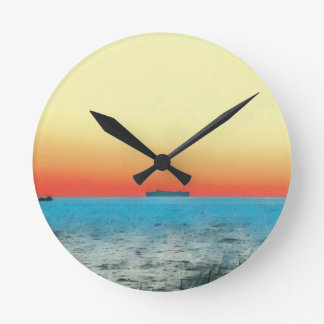 Pretty Artistic Seascape Naval ship Silhouette Wallclocks