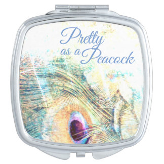 Pretty as a peacock compact mirror