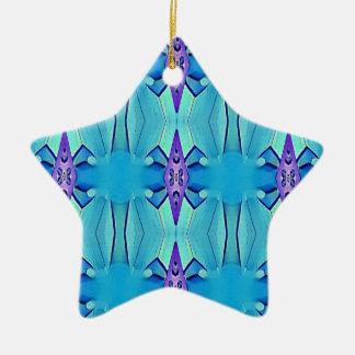 Pretty Azure Blue Lilac Girly Pattern Ceramic Ornament