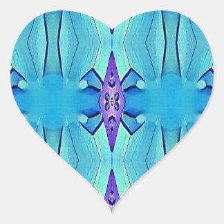 Pretty Azure Blue Lilac Girly Pattern Heart Sticker