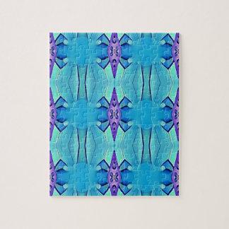 Pretty Azure Blue Lilac Girly Pattern Jigsaw Puzzle