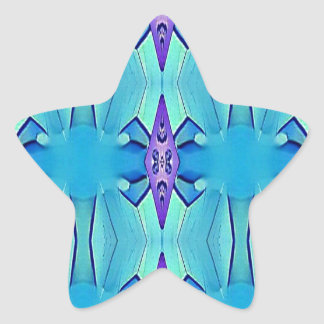 Pretty Azure Blue Lilac Girly Pattern Star Sticker