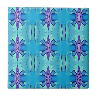 Pretty Azure Blue Lilac Girly Pattern Tile