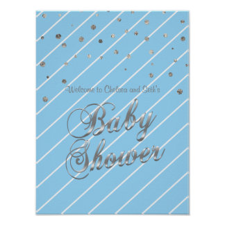 Pretty Baby Blue and Silver Baby Shower Poster