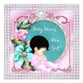 Pretty Baby Shower Floral Teal Pink Brunette Baby Card