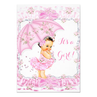 Pretty Baby Shower Girl Floral Pink Brunette Card