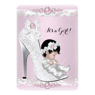 "Pretty Baby Shower Girl Pink White Baby in Shoe 2 5"" X 7"" Invitation Card"
