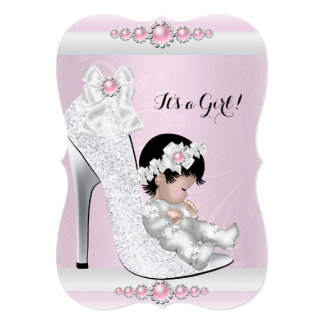 """Pretty Baby Shower Girl Pink White Baby in Shoe 5"""" X 7"""" Invitation Card"""