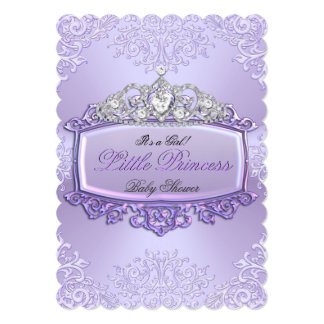 Pretty Baby Shower Girl Princess Tiara Lavender 2 Personalized Announcement