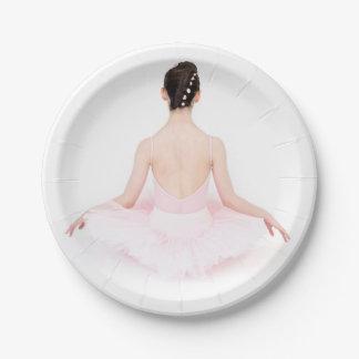 Pretty ballerina in pink tutu party plate 7 inch paper plate