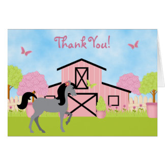 Pretty Barn Horse Thank You Cards
