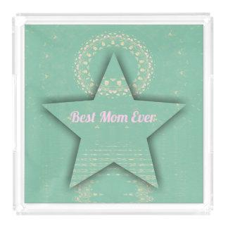 """Pretty """"Best Mom Ever""""  Dimensional  Star Shape Acrylic Tray"""