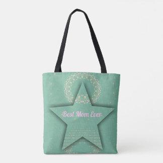 "Pretty ""Best Mom Ever""  Dimensional  Star Shape Tote Bag"