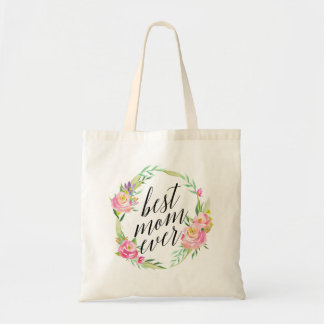 Pretty Best Mom Ever Floral Wreath Tote Bag