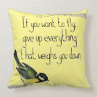 Pretty bird  Inspirational yellow pillow