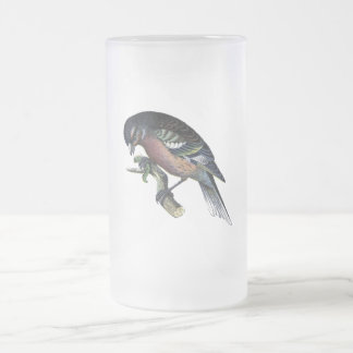 Pretty Bird on Branch Frosted Glass Beer Mug