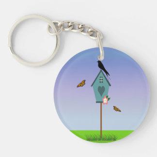 Pretty Bird Silhouette on top a Blue Birdhouse Single-Sided Round Acrylic Keychain