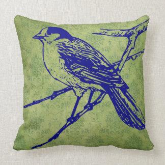 Pretty bird  vintage look green scroll  pillow