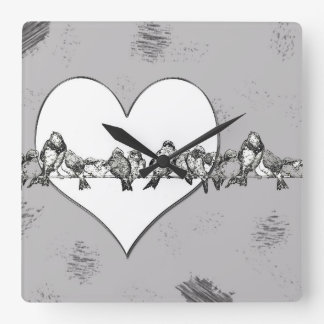 Pretty Birds on a wire with Heart Clock