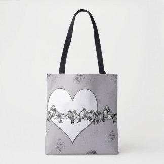 Pretty Birds on a wire with Heart Tote Bag